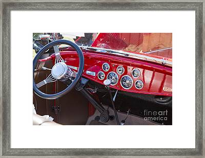 1932 Ford Roadster Interior Automobile Classic Car In Color  306 Framed Print by M K  Miller