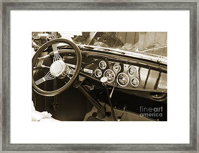 1932 Ford Roadster Interior Automobile Classic Car In Sepia  306 Framed Print by M K  Miller