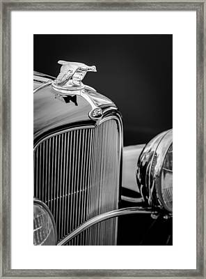 1932 Ford V8 Hood Ornament - Grille Emblem Framed Print by Jill Reger