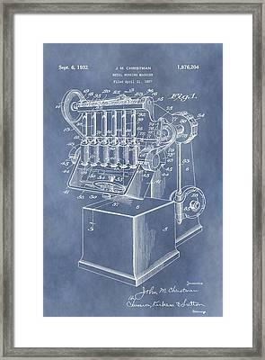 1932 Machine Patent Framed Print