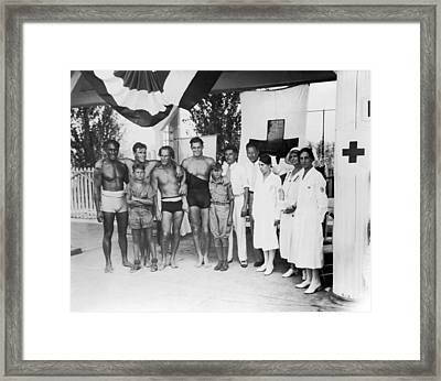 1932 Olympic Swimming Tryouts Framed Print by Underwood Archives
