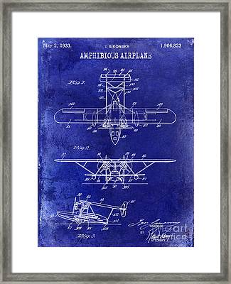 1933 Amphibious Airplane  Patent Drawing Blue Framed Print