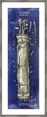 1933 Golf Bag Patent Drawing 2 Tone Blue Framed Print
