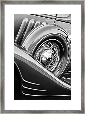 1933 Pontiac Spare Tire -0431bw Framed Print