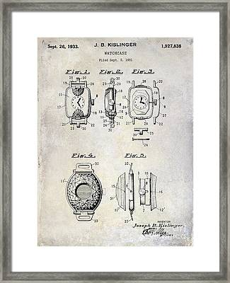 1933 Watch Case Patent Drawing  Framed Print