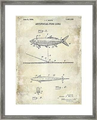 1934 Artificial Fish Lure Patent Drawing Framed Print by Jon Neidert