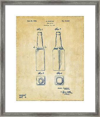 1934 Beer Bottle Patent Artwork - Vintage Framed Print