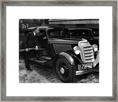 1934 Boston Policeman Ready For Action Framed Print