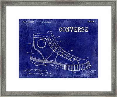 1934 Converse Shoe Patent Drawing Blue Framed Print by Jon Neidert