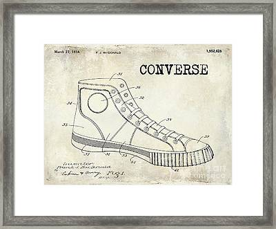 1934 Converse Shoe Patent Drawing Framed Print by Jon Neidert