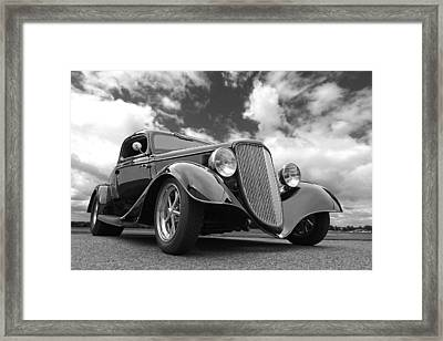 1934 Ford Coupe In Black And White Framed Print by Gill Billington