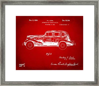 1934 La Salle Automobile Patent 3 Artwork Red Framed Print by Nikki Marie Smith
