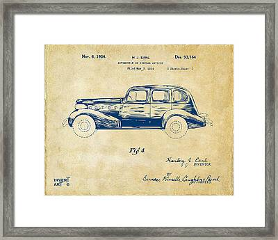 1934 La Salle Automobile Patent 3 Artwork Vintage Framed Print