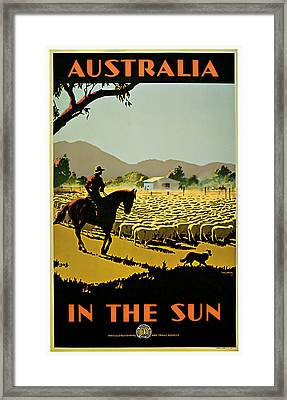 1935 Australia In The Sun - Vintage Travel Art Framed Print by Presented By American Classic Art