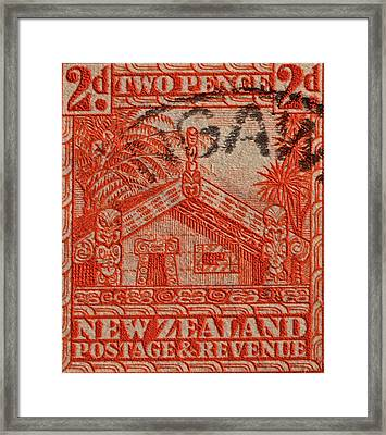 1935 Carved Maori House New Zealand Stamp Framed Print