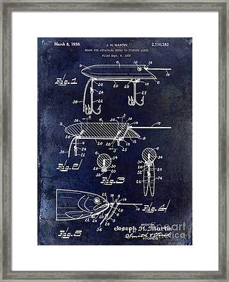 1935 Fishing Lure Patent Blue Framed Print