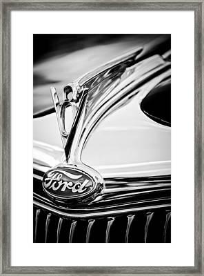 1935 Ford Cabriolet Resto-mod Hood Ornament - Emblem -0842bw Framed Print