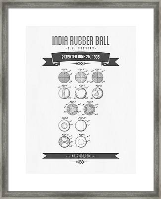 1935 India Rubber Ball Patent Drawing - Retro Gray Framed Print by Aged Pixel