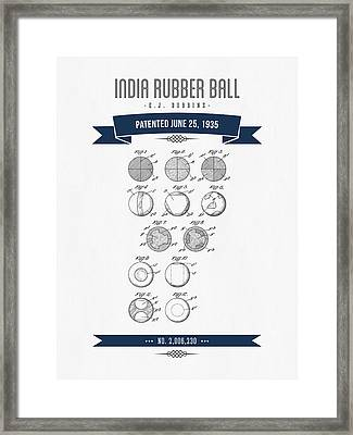 1935 India Rubber Ball Patent Drawing - Retro Navy Blue Framed Print by Aged Pixel