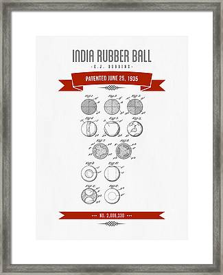 1935 India Rubber Ball Patent Drawing - Retro Red Framed Print by Aged Pixel