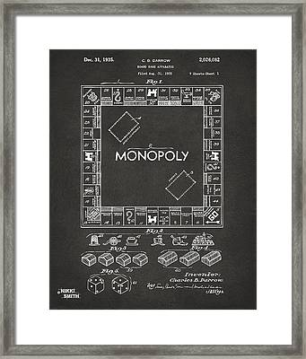 1935 Monopoly Game Board Patent Artwork - Gray Framed Print by Nikki Marie Smith