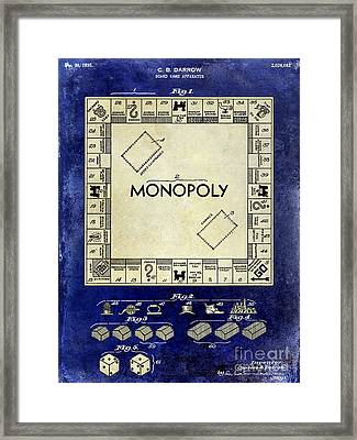 1935 Monopoly Patent Drawing 2 Tone Blue Framed Print by Jon Neidert