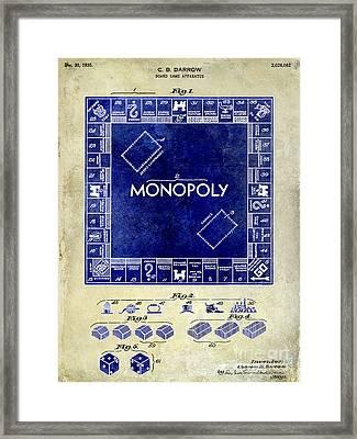 1935 Monopoly Patent Drawing 2 Tone  Framed Print by Jon Neidert