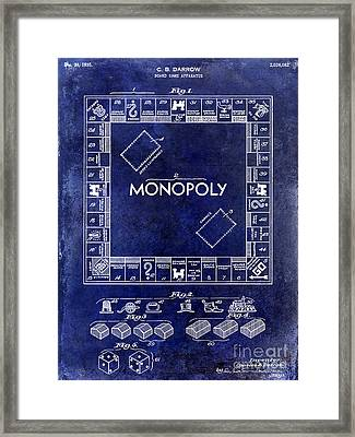 1935 Monopoly Patent Drawing Blue Framed Print