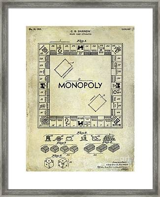 1935 Monopoly Patent Drawing Framed Print by Jon Neidert