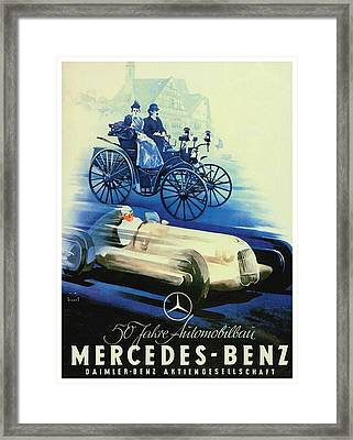1936 - Mercedes Benz German Poster Advertisement - Color Framed Print by John Madison