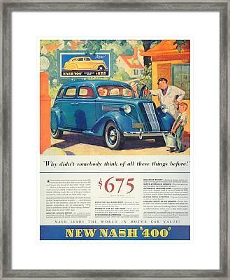 1936 - Nash Sedan Automobile Advertisement - Color Framed Print