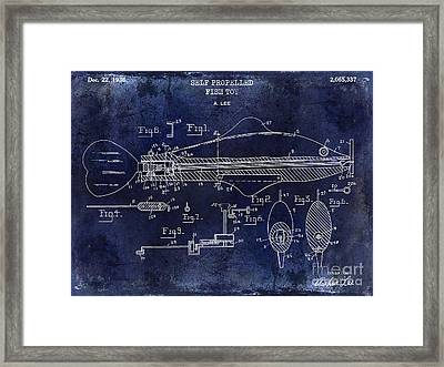 1936 Fish Toy Patent Drawing Blue Framed Print