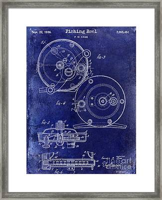 1936 Fishing Reel Patent Drawing Blue Framed Print