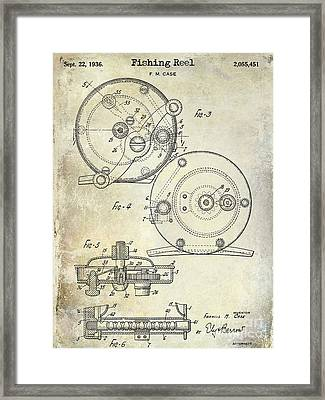 1936 Fishing Reel Patent Drawing Framed Print