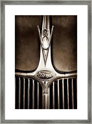 1936 Ford Phaeton V8 Hood Ornament - Emblem Framed Print by Jill Reger