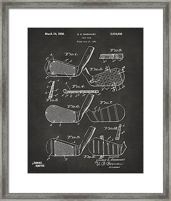 1936 Golf Club Patent Artwork - Gray Framed Print by Nikki Marie Smith