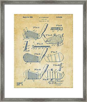 1936 Golf Club Patent Artwork Vintage Framed Print by Nikki Marie Smith