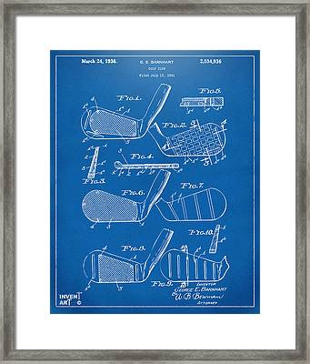 1936 Golf Club Patent Blueprint Framed Print by Nikki Marie Smith