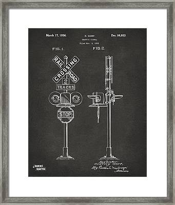 1936 Rail Road Crossing Sign Patent Artwork - Gray Framed Print by Nikki Marie Smith