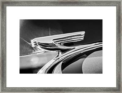 1937 Chevrolet 2 Door Sedan Hood Ornament -0834bw Framed Print