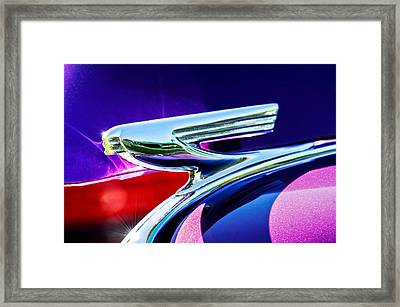 1937 Chevrolet 2 Door Sedan Hood Ornament -0834c Framed Print by Jill Reger