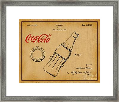 1937 Coca Cola Bottle Design Patent Art 1 Framed Print