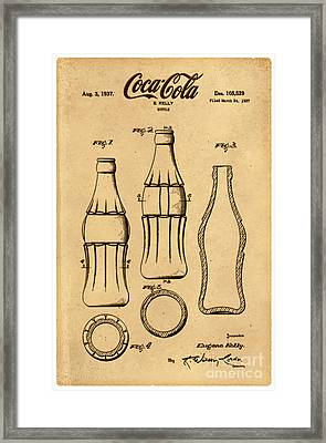 1937 Coca Cola Bottle Design Patent Art 4 Framed Print