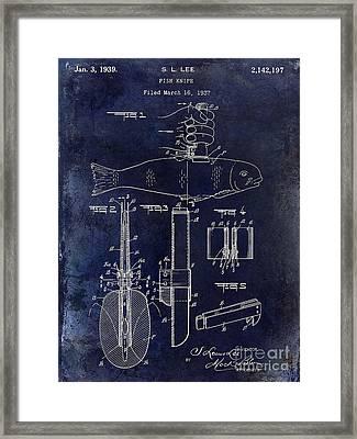 1937 Fishing Knife Patent Blue Framed Print by Jon Neidert