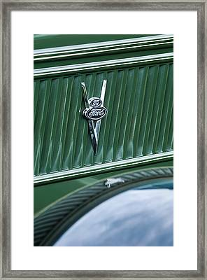1937 Ford Pickup Truck V8 Emblem Framed Print