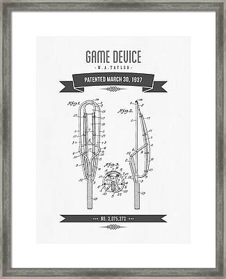 1937 Game Device Patent Drawing - Retro Gray Framed Print