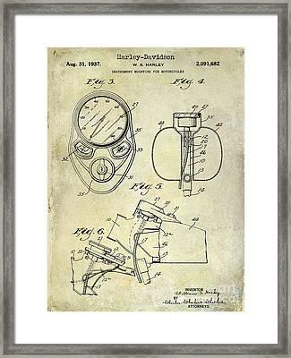 1937 Harley Davidson Patent Drawing Instrument Framed Print by Jon Neidert