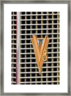 1937 Lasalle V8 Emblem Framed Print by Jill Reger