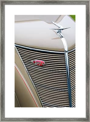 1937 Lincoln-zephyr Coupe Sedan Grille Emblem - Hood Ornament Framed Print by Jill Reger