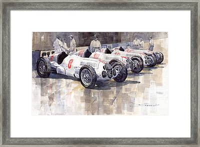 1937 Monaco Gp Team Mercedes Benz W125 Framed Print